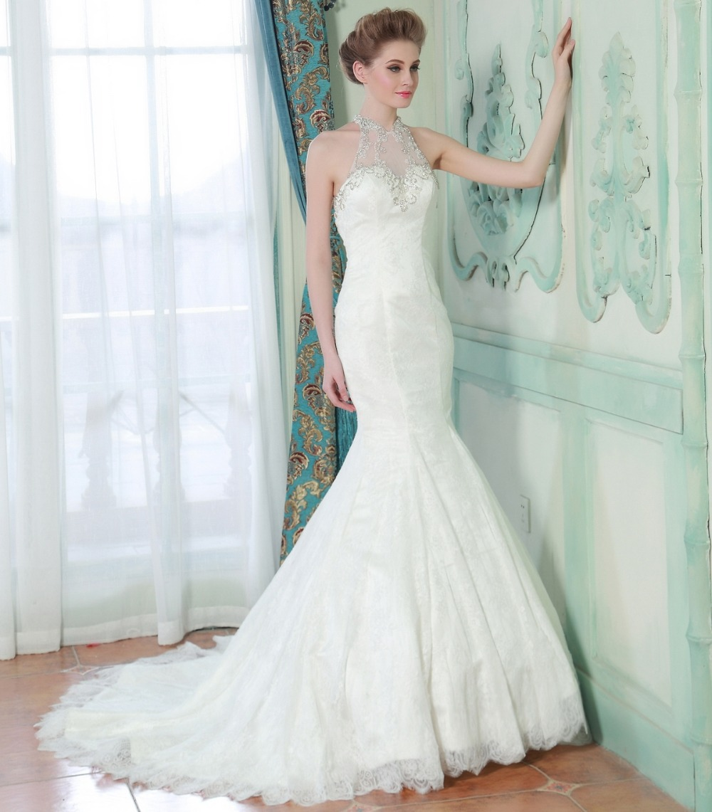 Real Brides In Wedding Dresses: Mermaid Long Bridal Dress Luxury Wedding Dress High Neck