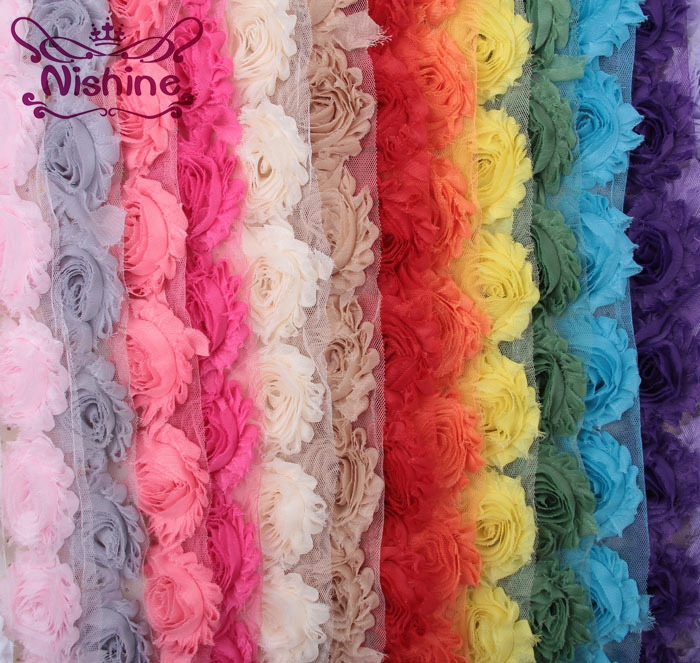 NISHINE 15colors 1 Yards Chic Shabby Chiffon Flowers For Children Hair Accessories 3D Fabric Flowers For DIY Baby Headbands