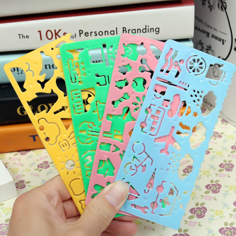 8 Pcs/lot Korean Stationery Candy Color Drawing Ruler Versatility Variety Geometric Sketchpad Ruler Kids Gift Toys School Supply