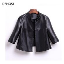 2018 Autumn Genuine Leather Jacket Woman Black Stand Collar Elegant Sheepskin Leather Jacket Short Plus Size XL Casaco Feminino