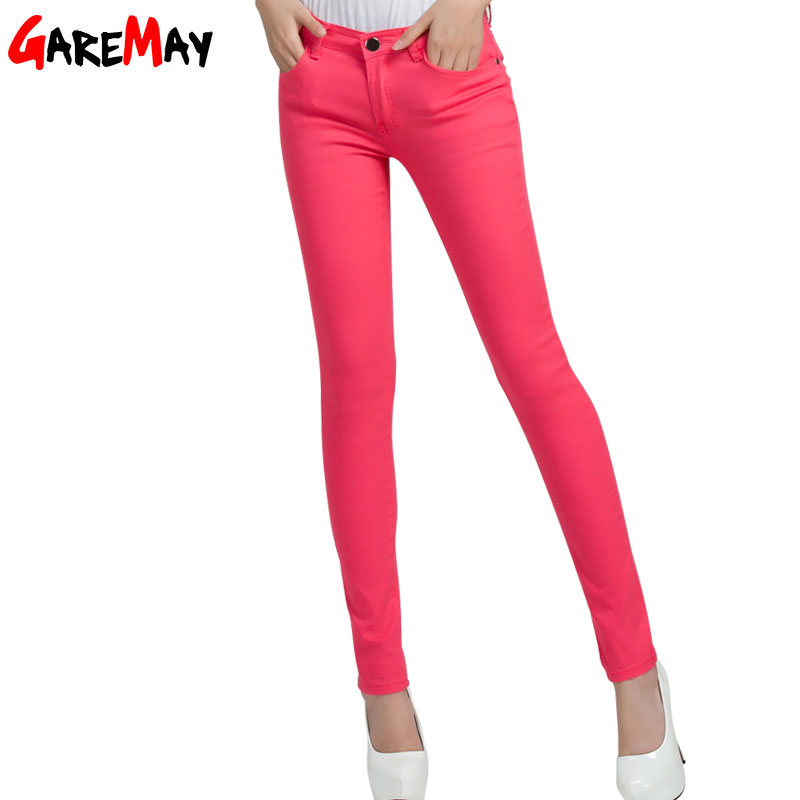 Pants & Capris: GAREMAY Women's Candy Pants Pencil Trousers 2016 Spring Fall Khaki Stretch Pants For Women Slim Ladies Jean Trousers Female 1010