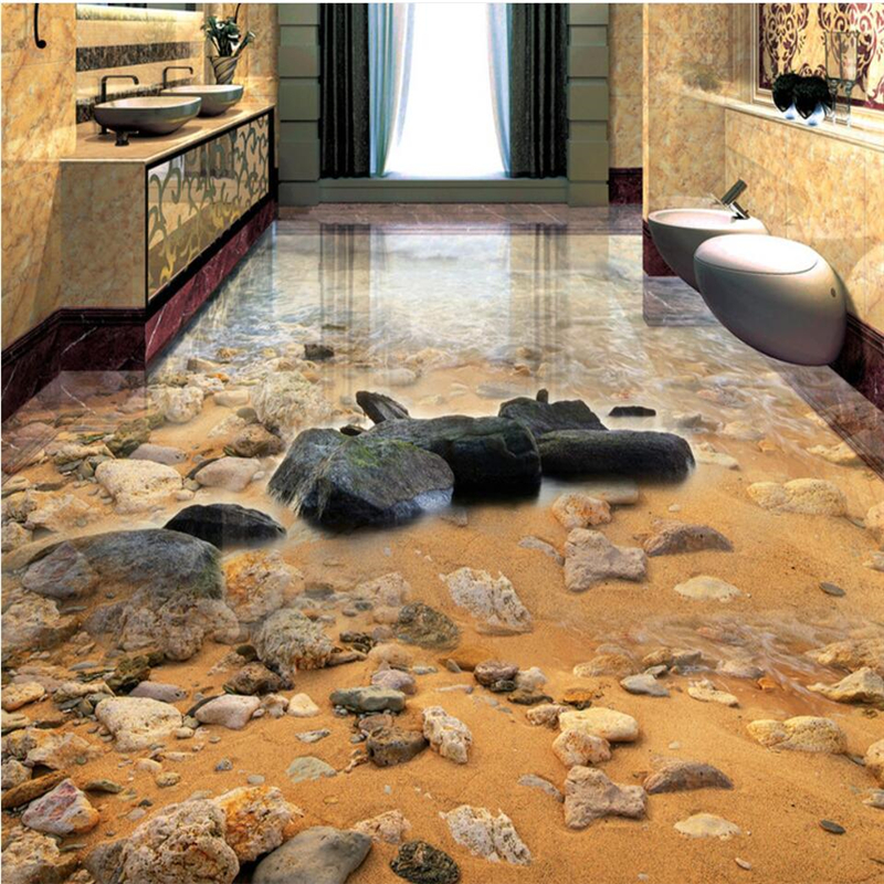 beibehang Seaside sand stone living room bathroom 3D floor painting custom large fresco pvc thick wear resistant floor cover in Wallpapers from Home Improvement