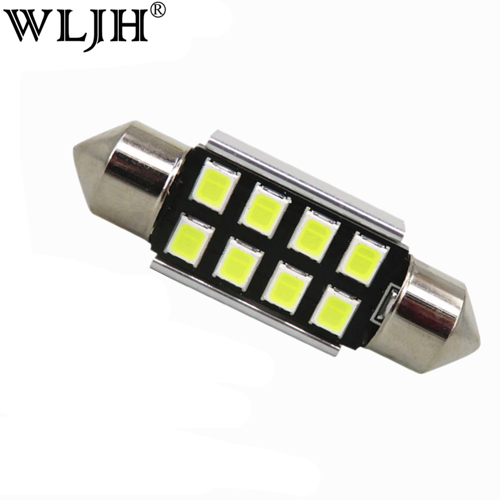WLJH 10x C5W 36mm CANbus LED Error Free Bulbs For Samsung Chip 2835 SMD License Plate Light For BMW Audi VW Porsche Mercedes 2pcs high quality superb error free 5050 smd 360 degrees led backup reverse light bulbs t20 for hyundai i30