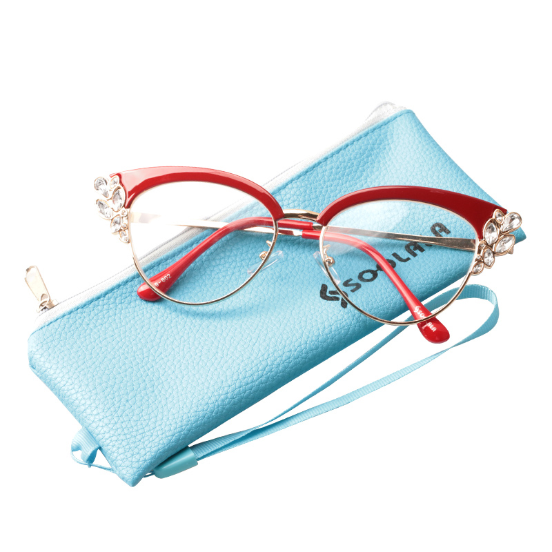 e361212a720d SOOLALA Rhinestones Cateye Reading Glasses Women Fashion Ladies Eyeglasses  Frame Presbyopia Reading Glasses w/ Case