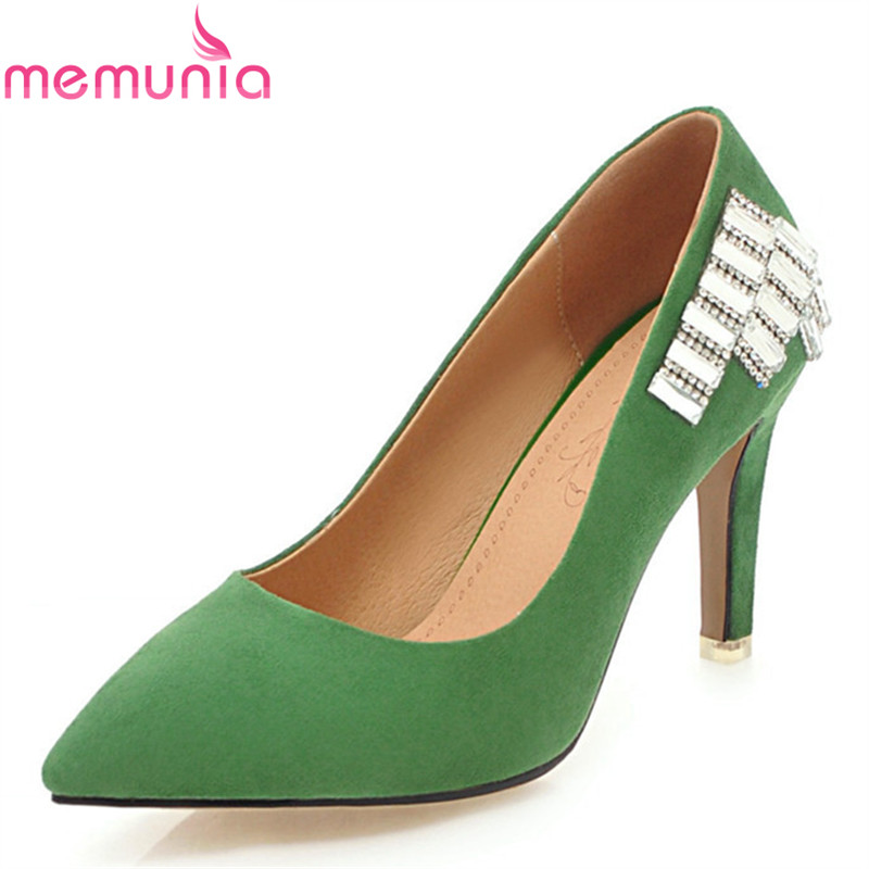 MEMUNIA new arrive hot women pumps elegant fashion pointed toe rhinestone summer shoes elegant ladies high heels single shoes memunia 2018 new arrive women pumps