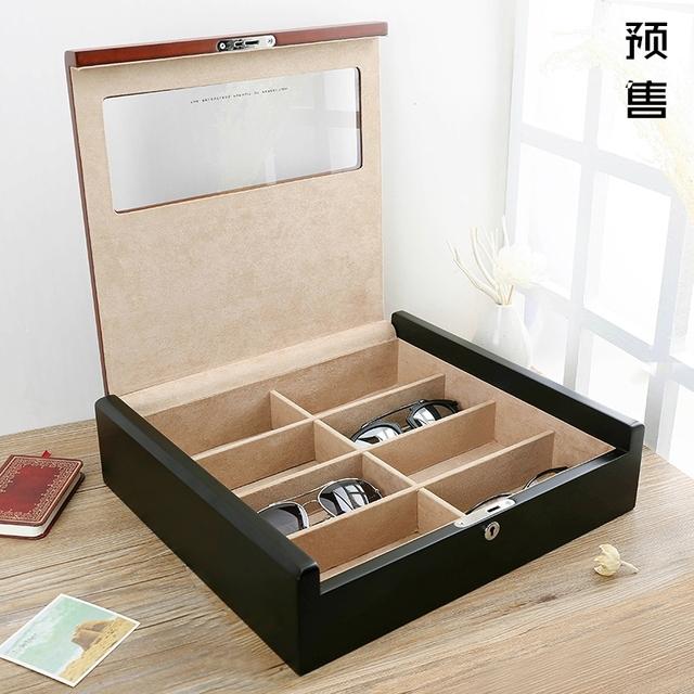 Claraboya Calidad de madera gafas de Sol Gafas de caja de Colección Caja de Colección Caja de Pulsera Exhibición de La Joyería de Bloqueo Cinta