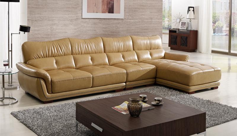 Free Shipping Modern Design Sofa , Yellow Top Grain Cattle Leather, Solid  Wood Frame Durable Sofa With Chaise Lounge 2016