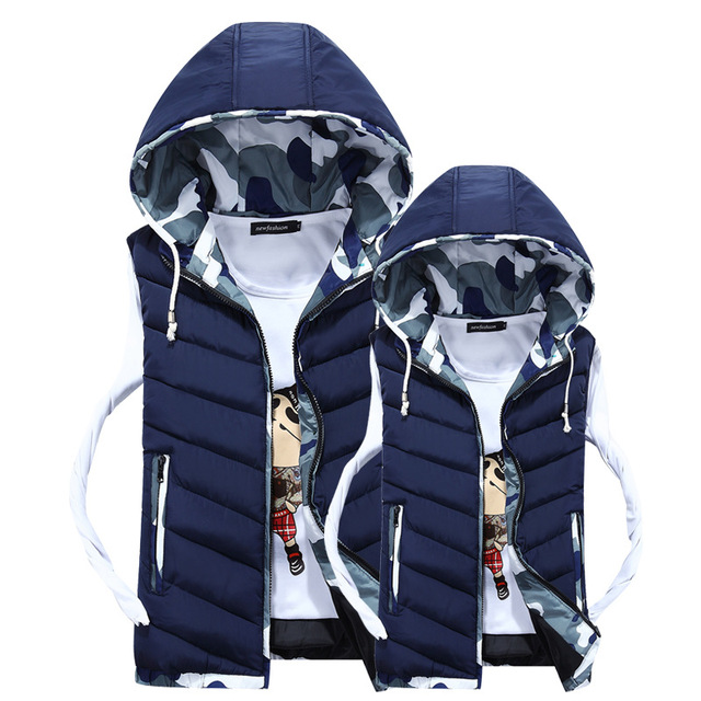 2017 Autumn Winter Camouflage Mens Vest Thickened Hooded Cotton Vest Korean Men's Warm Vests Gilet Homme