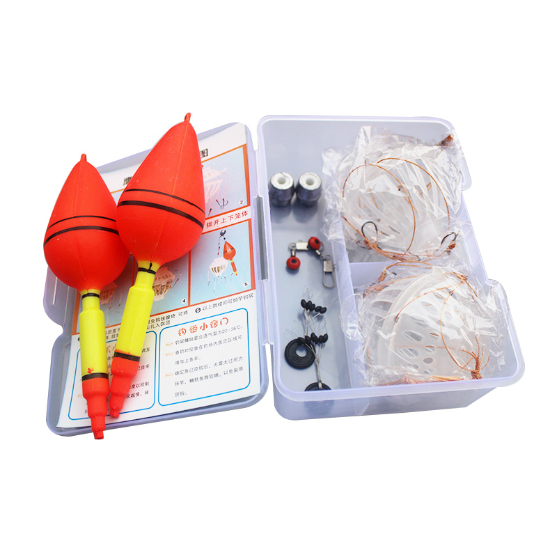 One Box Silver Carp Fishing Float Sea Monster with Six Strong Explosion Hooks Space Beans Fishing Sinker Fishing Tackle Set