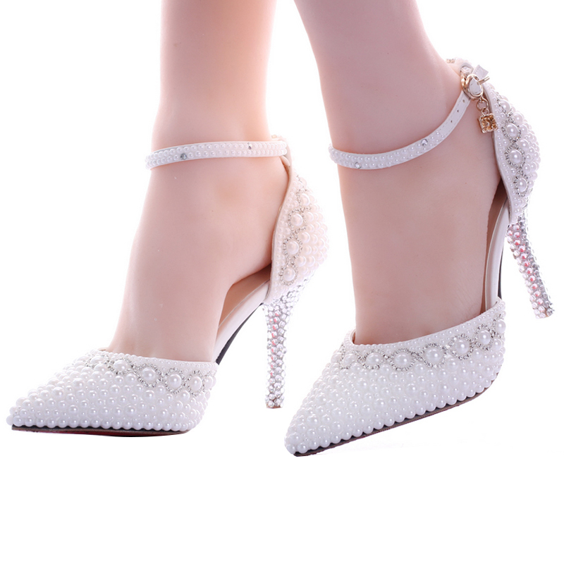 2017 New White Pearl Diamond Wedding Shoes High Heels Bride Dress Shoes Show Party Sandals Two-Pieces Women's Pumps Thin Heels