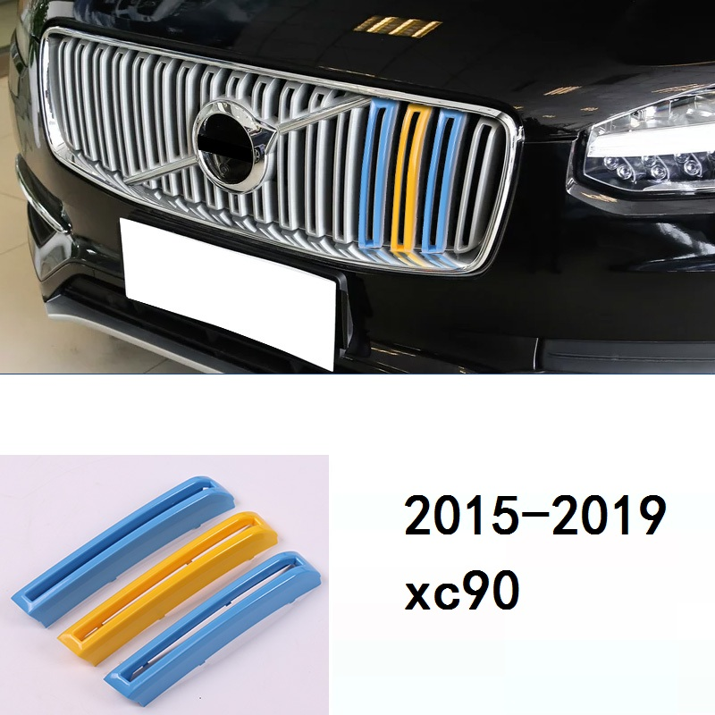 for Volvo xc90 2015 2018 model three color net decoration strip new network modified special color stickers-in Car Stickers from Automobiles & Motorcycles