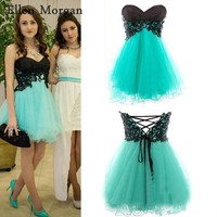 Cheap Short Homecoming Dresses Under 50 Sexy Above Knee Mini Tulle Sweetheart Black Top Back To