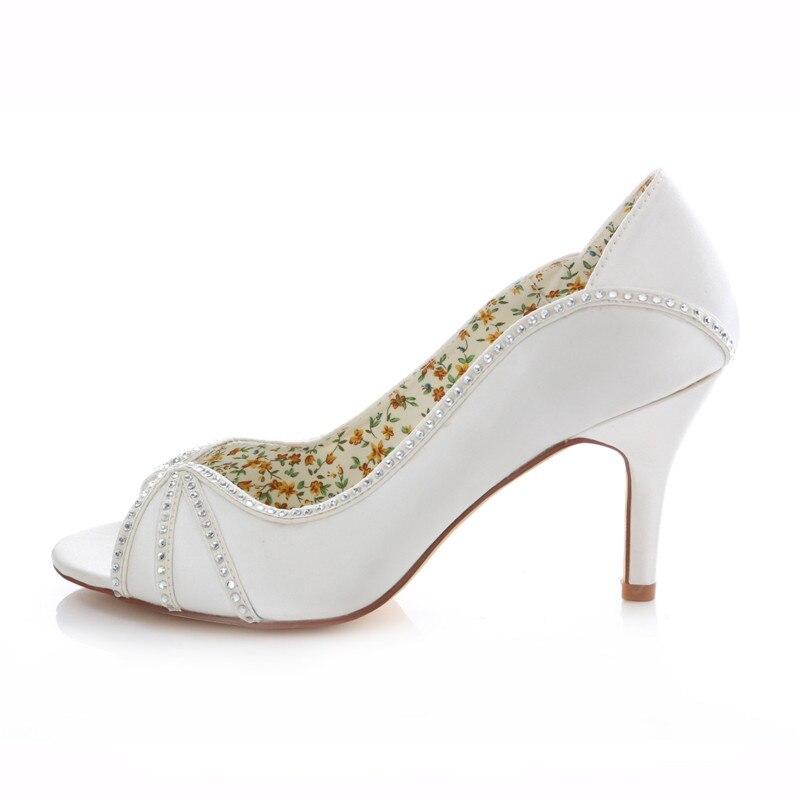 Donne Peep Toe Strass Raso Avorio Bianco Da Sposa Tacco Sottile Scarpe Da Sposa Da Sera Pompe Corte Scarpe Uninnova 183 8B - 2