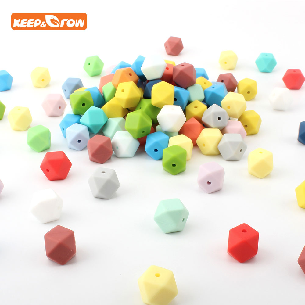 Keep&grow 10Pcs Hexahedral Silicone Beads Teethers Mordedor Bead 14mm For DIY Making Pacifier Chain Necklace Nursing Toy Beads