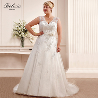 Belicia Couture Wedding Dresses V Neck Bridal Gown Beading Appliques Ivory White Ball Gown Lace Up