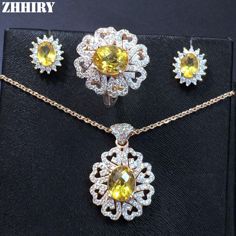 Véritables gemmes ensembles de bijoux naturel Citrine réel 925 solide en argent Sterling femmes collier boucles d'oreilles anneau
