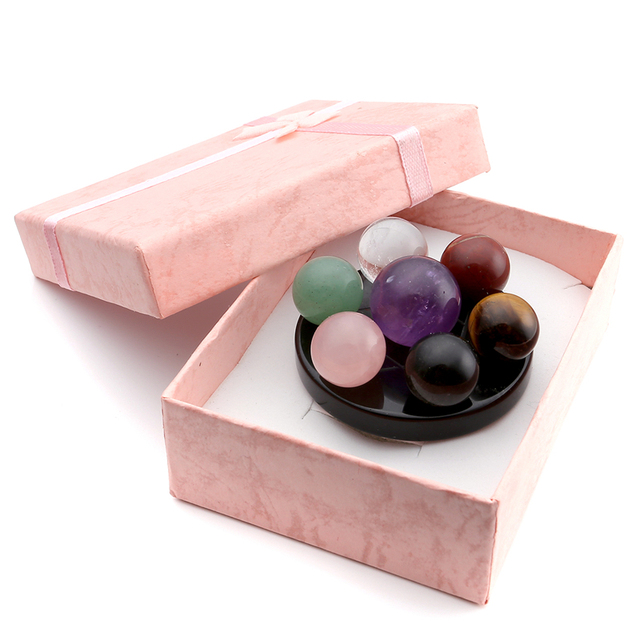 7 Chakra Crystal Spheres With Black Obsidian Stand & Gift Box