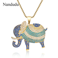 Nandudu Statement Maxi Alloy Crystal Elephant Choker Necklace Chain Pendant Collar 2018 Fashion New Jewelry Accessories