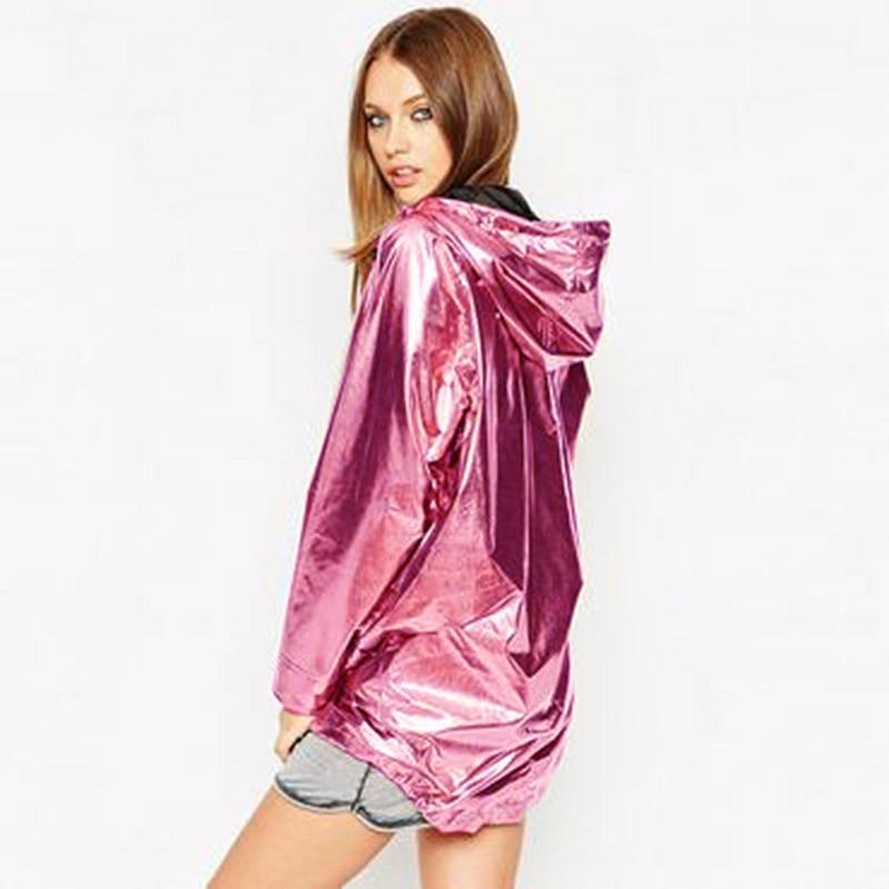 2019 New Women's Jackets Metallic Color Bomber Jacket Womens Outerwear Hooded Spring Coat Femme Zip up Waterproof Jacket D366