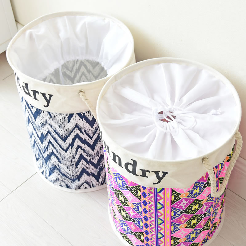 Durable Cotton Dirty Clothes Basket With Handle Tether Southeast Asian Style Sundries Storage Pail Laundry Basket Bag Holder