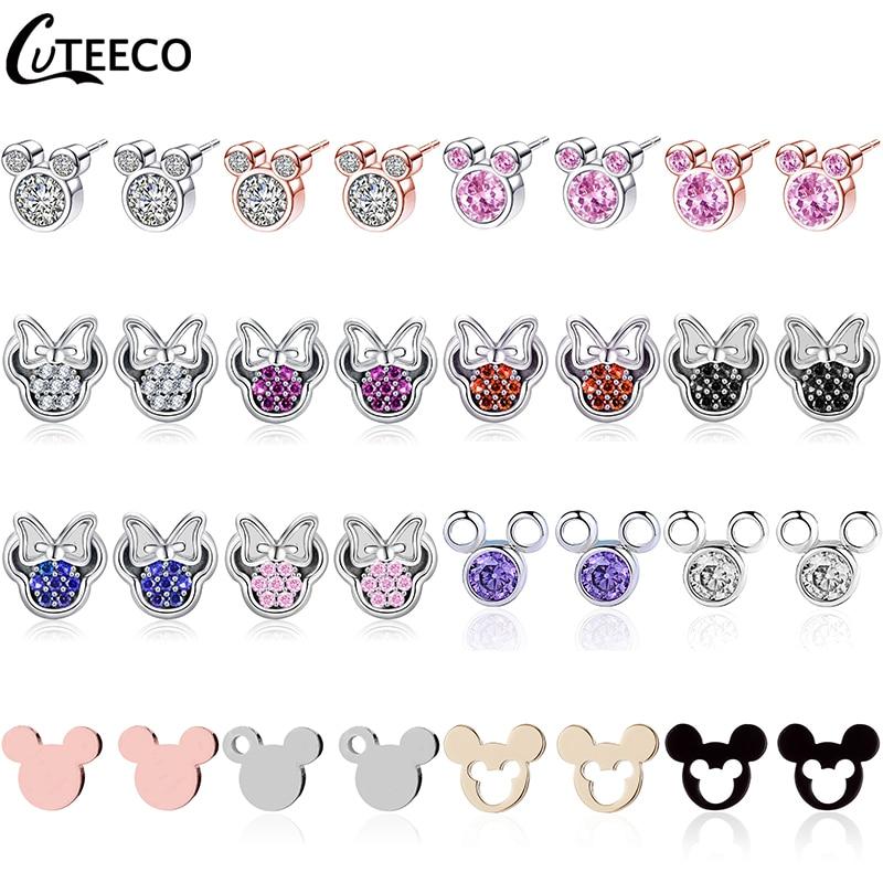 CUTEECO 2019 Luxury Zircon Mickey Minnie Stud Earrings Crystal Fit Brand Earrings For Women Kids Girls Fashion Jewelry Gift