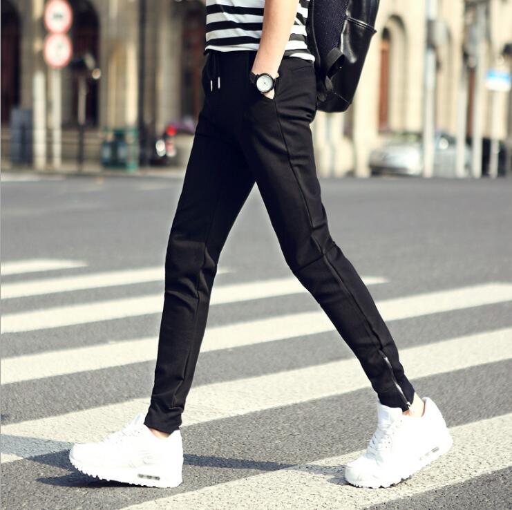 2018 новые весенние Дизайн Для мужчин Спорт Брюки для девочек с карманами дышащая Штаны Размеры s до 2XL черный Цвет дропшиппинг