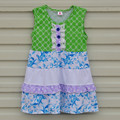 Factory Price Child Summer Baby Girl Clothes Princess Sleeveless Green Knitted Cotton Dress Children Girls Summer Dress DX003