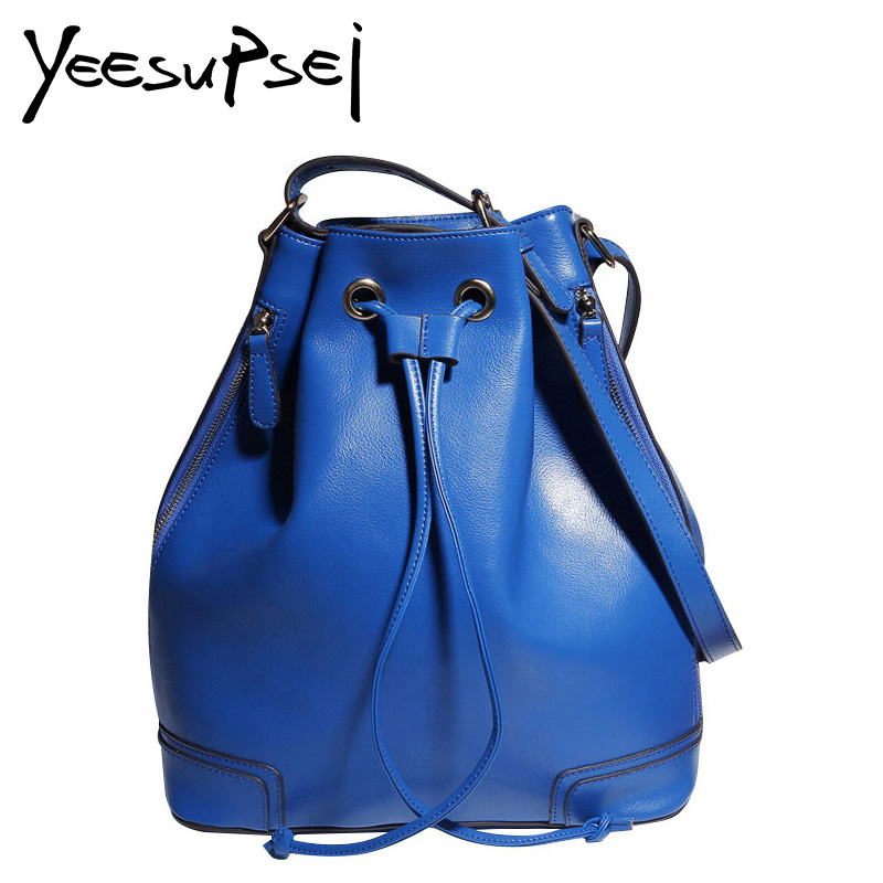 YeeSupSei High Quality Leather Women Bag Bucket Shoulder Bags Solid Color Big Women Handbag Large Capacity Tote Bolsas Feminina high quality travel canvas women handbag casual large capacity hobos bag hot sell female totes bolsas ruched solid shoulder bag