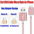 20PCS/Lot for iPhone 5 6 7 Plus iPad Android Phone Weave Style 2 in 1 USB Cable Micro to 8pin Fast Charging Cable 2.1A RC04