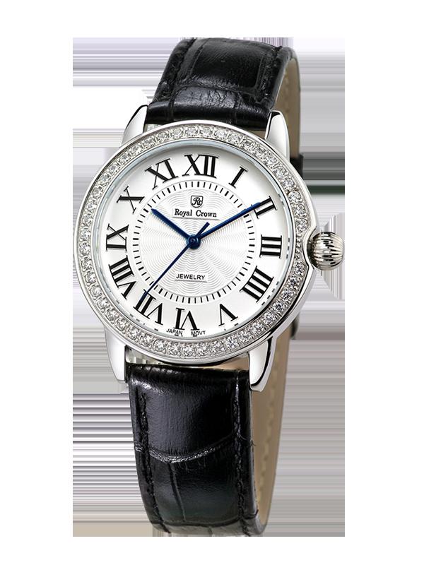 Royal Crown Jewelry Watch 4601M Italy brand Diamond Japan MIYOTA platinum Leather Watch Women's Dress Clock Montre Reloj