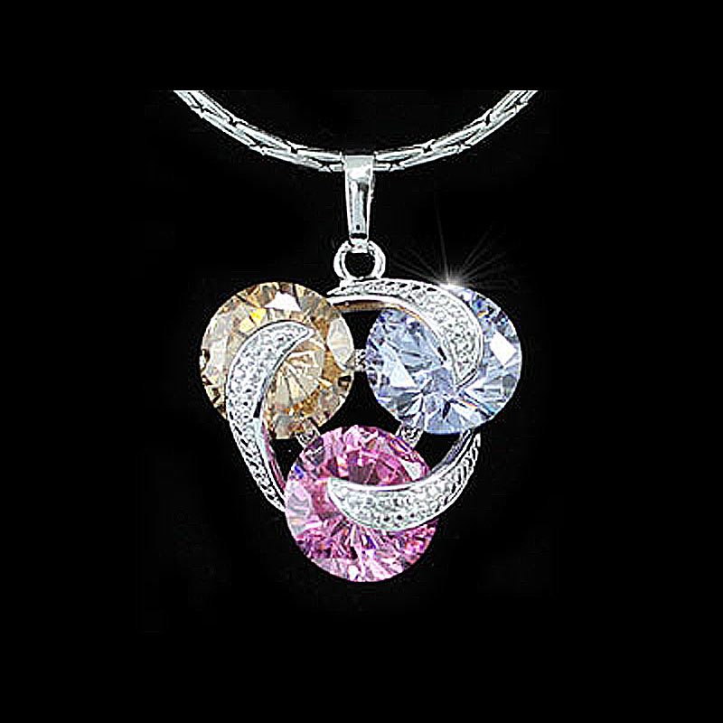 7.5 Carat Multi-Color Cubic Zirconia Pendant Necklace CSN268