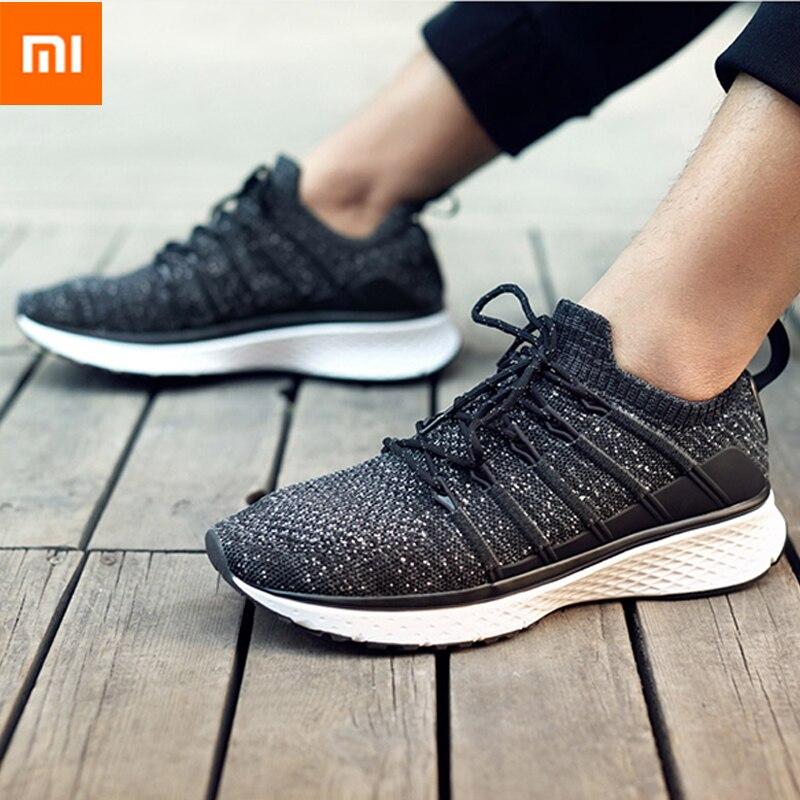 Xiaomi Mijia 2 baskets chaussures de Sport intelligentes Uni-moulage Techinique système de verrouillage de l'os de poisson élastique tricot Vamp semelle absorbant les chocs