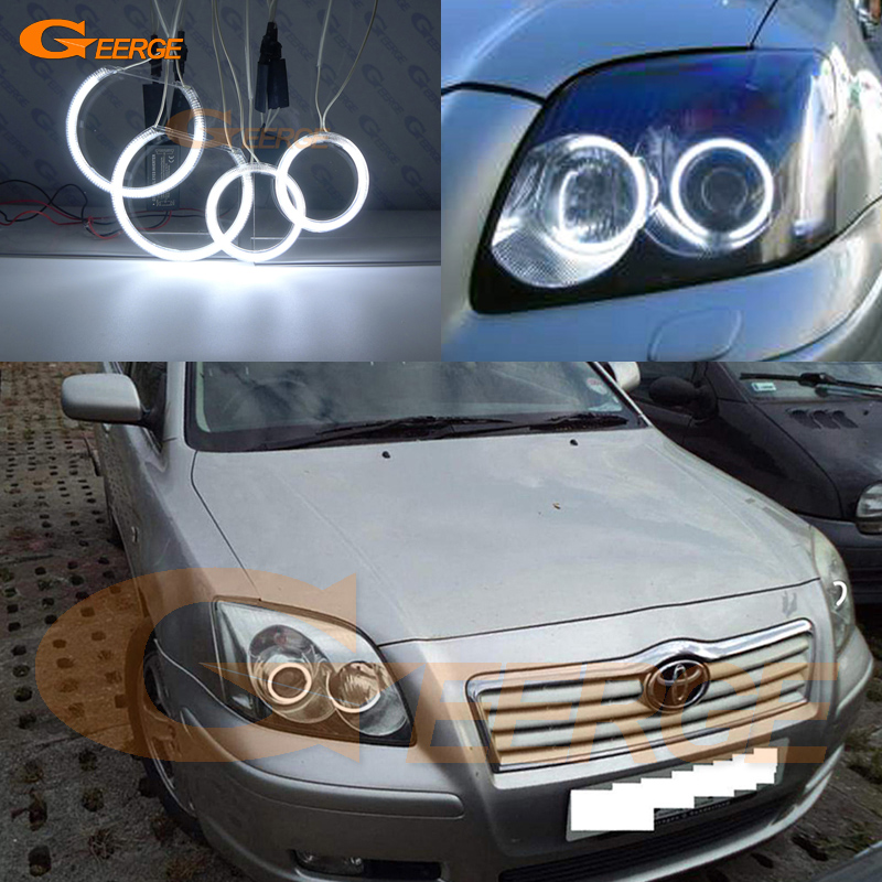 For Toyota Avensis T25 2003 2004 2005 Excellent Ultra bright illumination CCFL Angel Eyes kit Halo Ring for alfa romeo 147 2000 2001 2002 2003 2004 halogen headlight excellent ultra bright illumination ccfl angel eyes kit halo ring