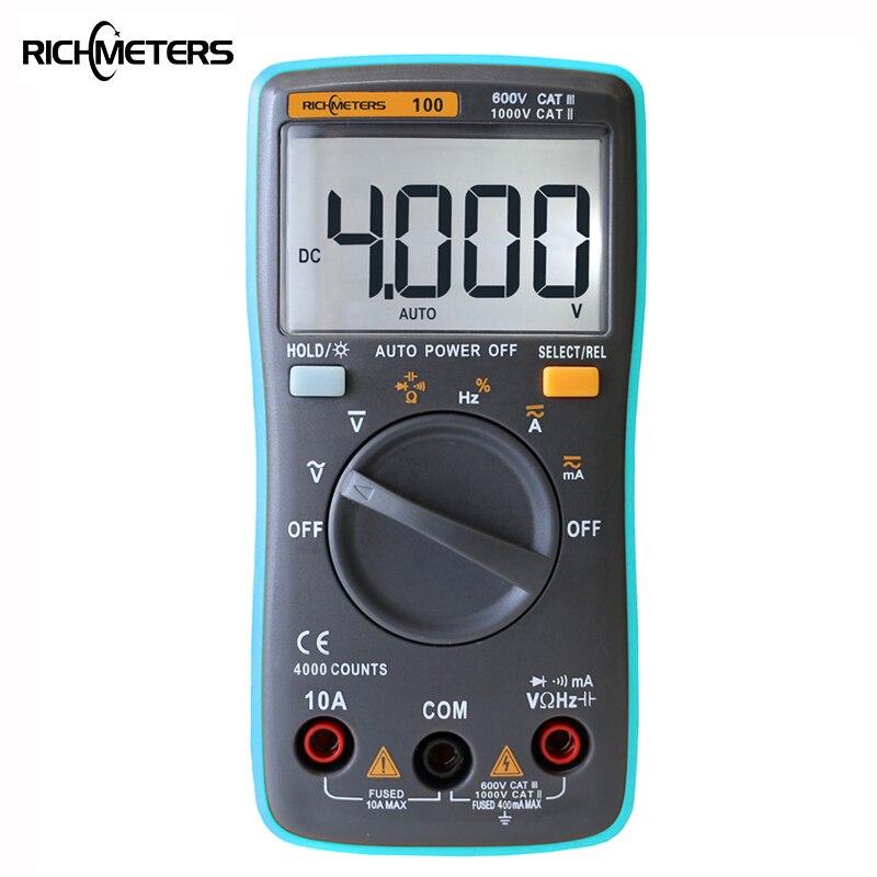 RICHMETERS RM100 multímetro 4000 counts luz de fondo AC/DC amperímetro voltímetro Ohm 9.999 MHz frecuencia diodo