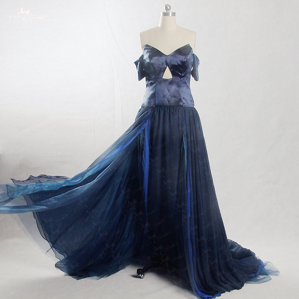 RSE867 Flowing Chiffon Open Legs Off Shoulder Blue   Prom     Dress