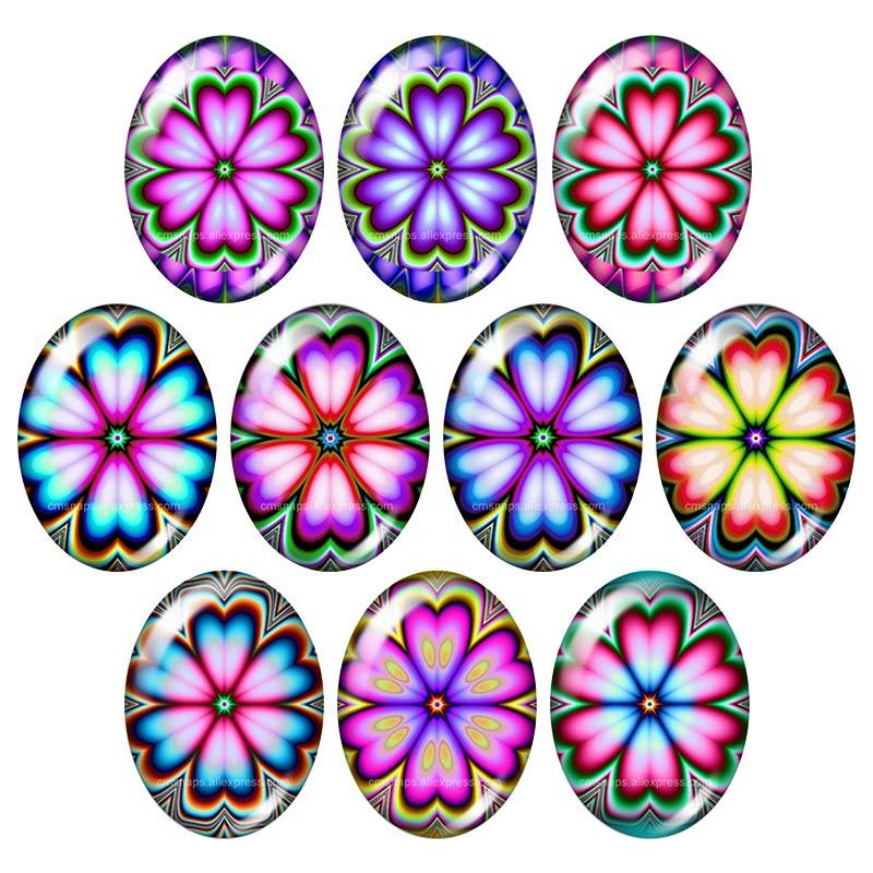 Красивые Винтажные Цветы Роза Маргаритка 10 шт. 13x18 мм/18x25 мм/30x40 мм овальные фото стекло кабошон демонстрационная плоская задняя часть изготовление TB0043 - Цвет: TB0075