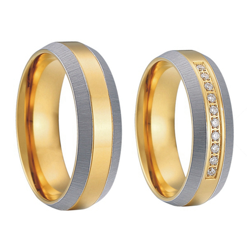 the most popular and unique models pure titanium steel jewelry mens and womens gold color couples wedding band engagement rings - Exotic Wedding Rings