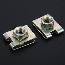 Yetaha 20Pcs Metal Spring U Type Plate Nut Speed Clips M6 For Honda Car Panel Fender Fastener
