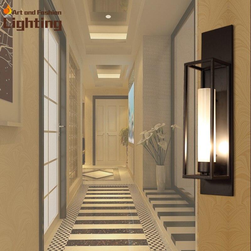 Iron Plate Lantern Long Rectangle Wall Mounted Lights