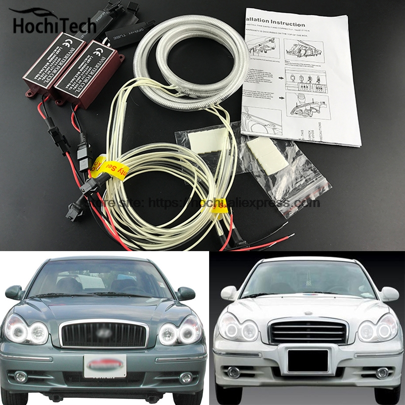 HochiTech ccfl angel eyes kit white 6000k ccfl halo rings headlight for Hyundai Sonata 2002 2003 2004 2005 for uaz patriot ccfl angel eyes rings kit non projector halo rings car eyes free shipping