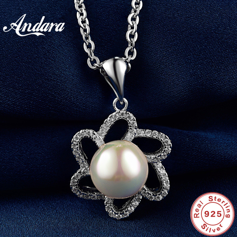 <font><b>ANDARA</b></font> New Arrival 100% Real 925 Sterling Silver Pearl Pendant Necklaces For Women Luxury Brand Jewelry Lover Gift image