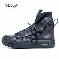 Black& Street High Top Men Summer Breathable Hollow Genuine Leather Outdoor Trainer Shoes Darkness Rock Style Summer Boots
