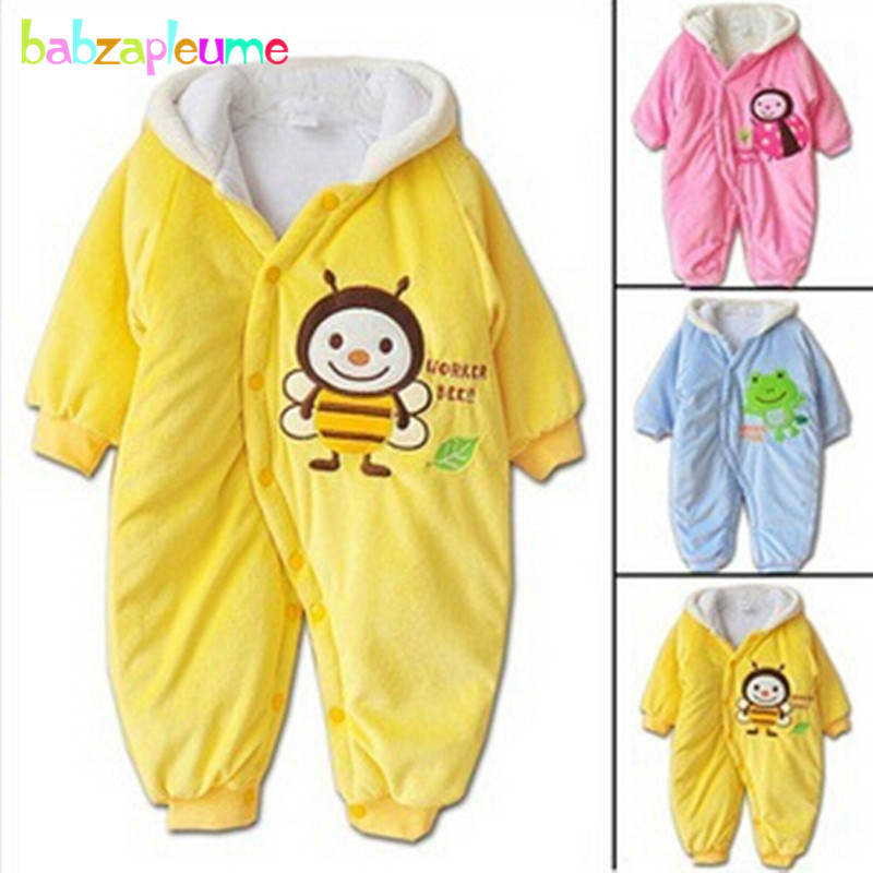0-9Months/Autumn Winter Baby Boys Girls Rompers Clothes Cartoon Hooded Cute Yellow Pink Newborn Jumpsuit Infant Clothing BC1371 cotton baby rompers set newborn clothes baby clothing boys girls cartoon jumpsuits long sleeve overalls coveralls autumn winter