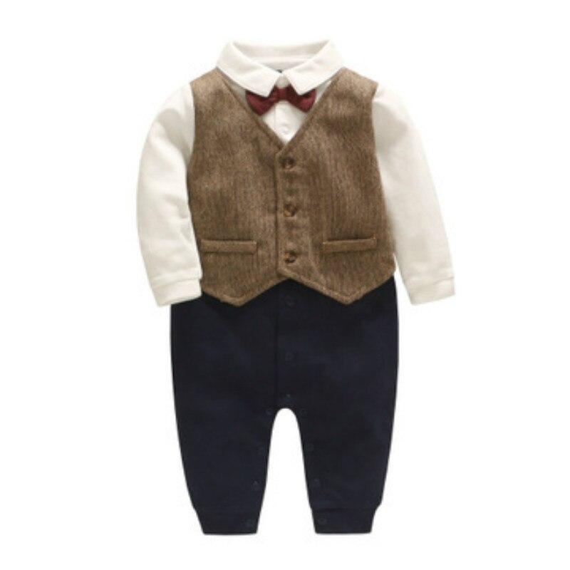 Tenue de bébé nouveau-né barboteuse bébé garçons barboteuses en coton rouge noeud papillon chemise Gentleman bébé Onesies combinaison bébé Costumes