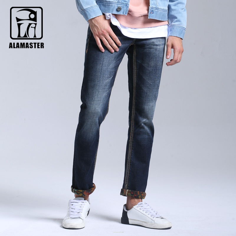 A LA MASTER Mens Winter Stretch Thicken Jeans with Warm Fleece High Quality Denim Jean Pants Trousers Size 28-36-38 2017 mens winter stretch thicken jeans warm fleece high quality denim biker jean pants brand thick trousers for man size 28 40