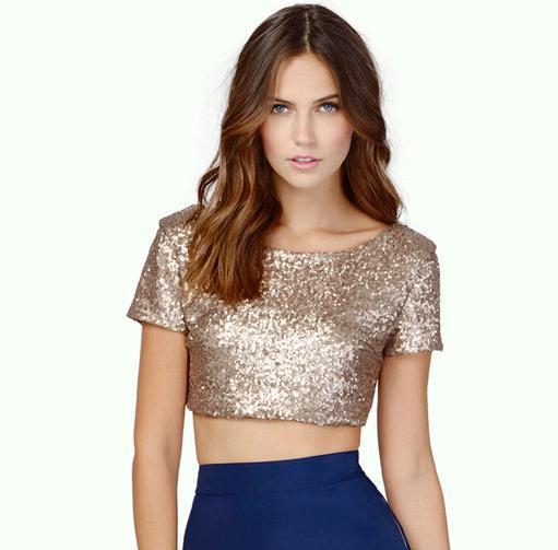 2662a0a7c New 2015 Women Sequin Crop Top Gold Shirt Backless Sexy Low Cut Tops ...