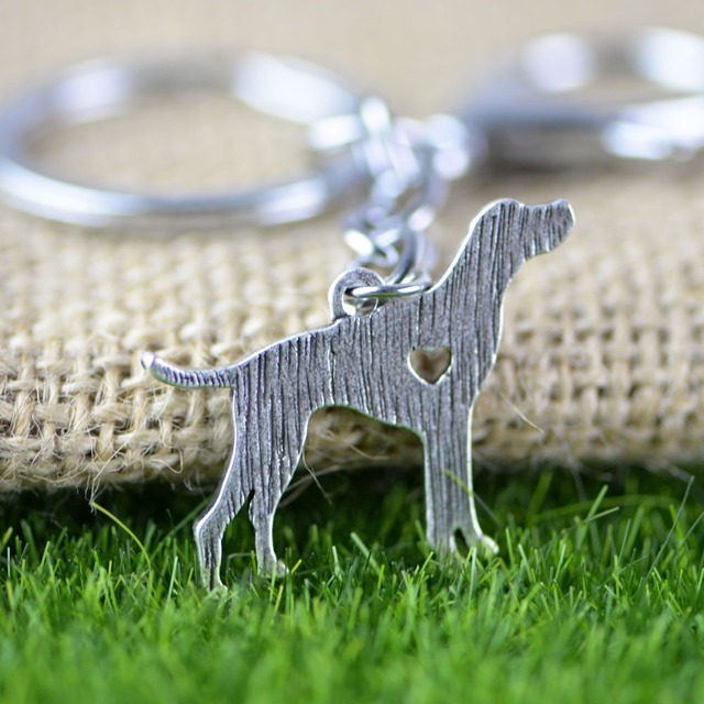 English Pointer Chaveiro Cartoon Animal Dog Keychain Silver Tone Metal Luxury Holder Keyring A036