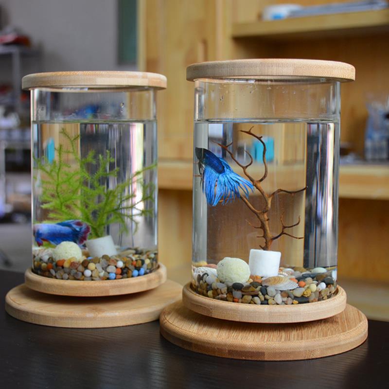 Barel Ikan Cupang Tank Mini Desktop Aquaponik Akuarium 360 Berputar Sangat Jelas Kaca Mangkuk Ikan Dengan Non Slip Dasar Kayu Tutup Aliexpress
