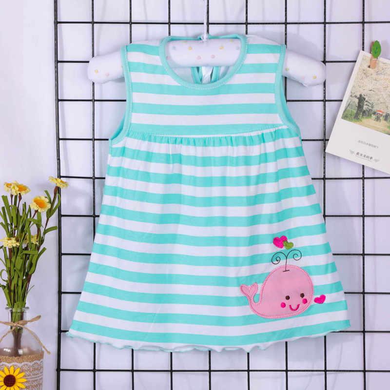 Платье для новорожденных девочек; летнее платье без рукавов с изображением сердца, чудесной божьей коровки, Кита, фиолетового, желтого, синего цвета