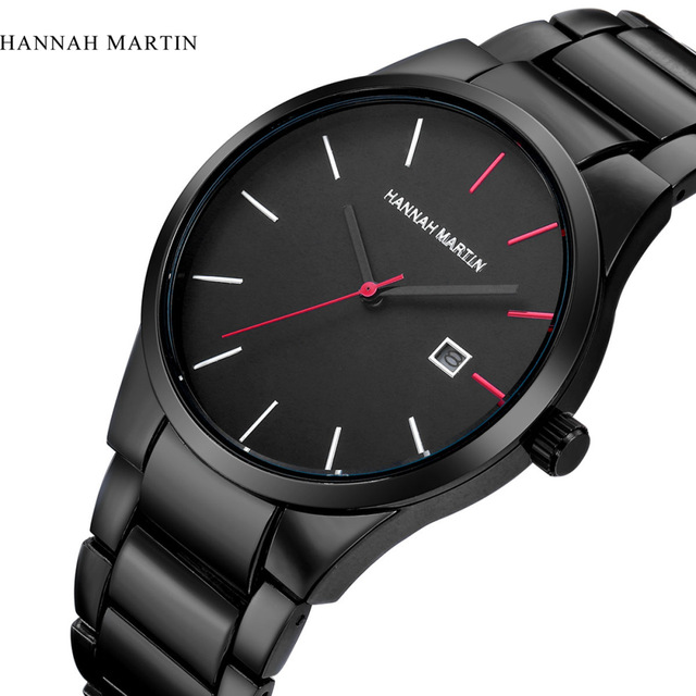 2017 Top Luxury Brand Hannah Martin Men Stainless Steel Business Watches Men Quartz Date Clock Men Wrist Watch Relogio Masculino
